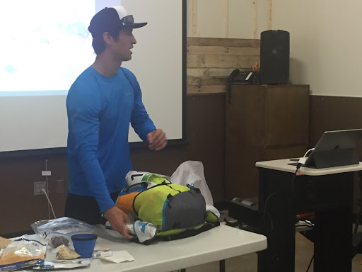 Thomas Mullins demonstrates how he packed for the Trans-Pecos Ultra.